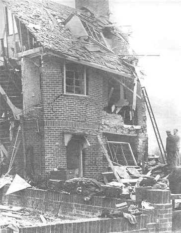 House wrecked by a Landmine